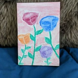 Hand painted flowers floral canvas 4×6 inch